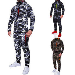camo trousers men NZ - NIBESSER 2018 Camouflage Jacket Set Men Camo Printed 2Pc Sportwear Male Tracksuit Top Pants Suits Hoodie Coat Trousers Autumn