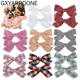 wholesale plaid fabrics Australia - 64pcs 32pairs Plaid Fabric Bow Headband Hair Clip Girls Floral Print Hair Bow Headwraps Nylon Headband Headdress Kids Headwear