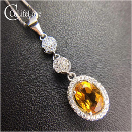 $enCountryForm.capitalKeyWord NZ - Classic silver citrine necklace pendant for woman 7 mm * 9 mm natural VVS citrine pendant solid 925 silver jewelry