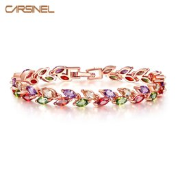 Snake Wholesalers Australia - CARSINEL Colorful Cubic Zircon Bracelet for Women Rose Gold-color Snake Chain Jewelry Bracelets Luxury Engagement Jewelry BR0004