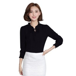 $enCountryForm.capitalKeyWord NZ - Women long sleeve Blouses Chiffon Solid Bow Tops Female Stand Collar Elegant Ladies Chiffon Blouse Office Work Wear