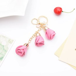 Artificial Gold Pendants Australia - Alloy Key Ring Chain Artificial Leather Rose Flower Tassel Keychain Keyring Charm Handbag Purse Pendant (Black)