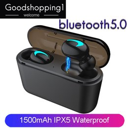 Cell Phones Dhl Shipping Australia - Wholesale Wireless Headphones Bluetooth 5.0 Earphones TWS Blutooth5.0 Headphone Sports Earbuds Headset Phone HBQ DHL free shipping