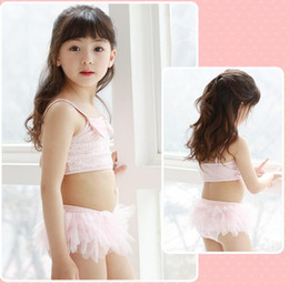 pink bathing suits kids NZ - new kids girls 3pcs hat bikini hat sparking pink sequin tutu skirt beachwear big bow shining bathing suit