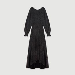 AsymmetricAl neckline dress sleeves online shopping - 2019 Fall Autumn Black Long Sleeve Round Neck Pure Color Sequins Long Dress Women Fashion Back Deep V Neckline Dresses O1021211M