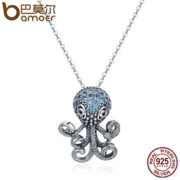 Bamoer jewelry necklaces online shopping - Bamoer Sterling Silver Fancy Octopus Marine Animal Clear Cz Pendant Necklace Vintage Punk Style Silver Jewelry Scn166 J190517