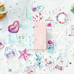 mini diary sticker Australia - 46PCS Cute Journal Mini Small Paper Diary Stationary Christmas Nordic Snow Stickers Scrapbooking Flakes Christmas Supplies