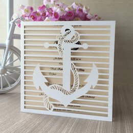 Invitations Themes Australia - 50Pcs Lot Anchor Pattern Sculpture Wedding Invitations Card Sculpture Envelope Sea Theme Activity Invitations Grand Events Supplies
