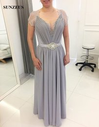 light grey formal mothers dress UK - Light Grey Chiffon Mother Bride Dresses Beaded V-neck Lace Cap Sleeve Long Groom Mother Gowns With Crystal Belt Women Formal Dress Dinner