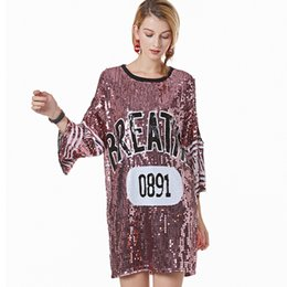 $enCountryForm.capitalKeyWord UK - Stage Performance Outfits Women Sequin Jersey Shirt Dress Casual Loose Slit Sleeve Cold Shoulder Oversized T-Shirt Dress