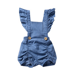 baby bodysuit 3t UK - Baby Girls Rompers Summer Fly Sleeve Newborn Onesies Clothing Denim Cute Toddler Romper Boutique Infant Bodysuit Clothes kids clothing
