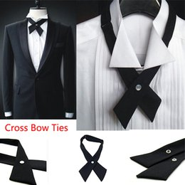 men cross bow tie Canada - Fashion Women Men Adjustable Cross Bow Tie Solid Color Polyester Wedding Party Student Tie Girls Tie la mode femmes hommes réglable
