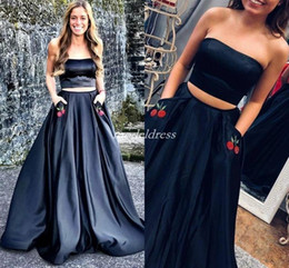 Two Pieces Black Prom Dresses Strapless Sweep Train Pockets Embroidery Long Formal  Evening Party Gowns Homecoming Graduation Dress 2019 f1c416f8e05a