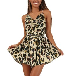 $enCountryForm.capitalKeyWord UK - Fashion Women Bandage Backless Leopard Print Deep V Neck Sleeveless Short Jumpsuit Playsuits And Bodysuits Off Shoulder Spring