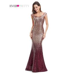 Evening Dress Long Sparkle Ever-Pretty 2018 New V-Neck Women Elegant  EP08999 Sequin Mermaid Maxi Evening Party Gown Dress 4c750577ce9e