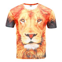 919963a62 Men's Short Sleeve New 3D Casual T-Shirt Trend Men's Personality Fashion  Sports Lion Head Short Sleeve Round Neck Top