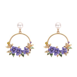 Ms Alloys Australia - New Fashion Korea Rose Gold Blue and Pink Flower Earrings Ms Alloy Earrings Jewelry Stud Earrings