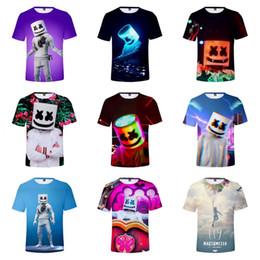 Venta al por mayor de DJ Marshmello Camisetas Camisetas 3D Impreso Digital de manga corta T-shirt Tops T-shirt de dibujos animados Niños Diseñador Ropa 10 colores A2