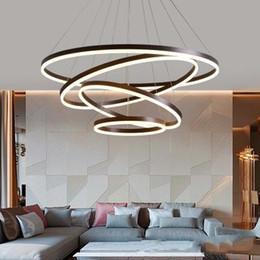 $enCountryForm.capitalKeyWord NZ - 40CM-100CM Rings Fashional Modern LED chandeliers for Living Dining room DIY Hanging Lighting circle rings for indoor lighting