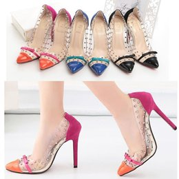 Wholesale New Hot Sale Patchwork High Heels Rivets Studded Shoes Sexy Women Pumps Dress Shoes size to