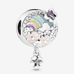 authentic flowers Australia - Fits Pandora Authentic Bracelet Charm Rainbow & Flower Sterling Silver 925 Pendant Charms Beads European Charms DIY Style Jewelry