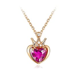 $enCountryForm.capitalKeyWord Australia - 1 PC Love Heart Pendant Necklace Artificial Red Crystal Gold Color Crown Clavicle Chain Women Girls Necklace Fashion Jewelry