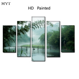 $enCountryForm.capitalKeyWord NZ - HD Printed Paintings Spray prints image on Canvas Wall Art pictures 5 pieces beautiful natural scenery For Living Room Home Decor