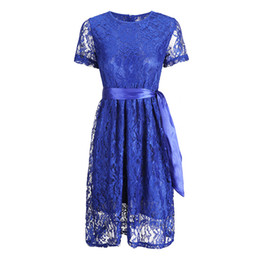 Discount swing wedding - Womens Short Sleeve Lace A-line Swing Waistbelt Wedding Cocktail Party Dress