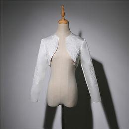 $enCountryForm.capitalKeyWord Australia - Bridal Satin Wedding Shrug Wedding long sleeve Lace bolero jacket Coat woman in evening dress Wedding Accessories