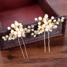 $enCountryForm.capitalKeyWord Australia - Handmade Gold Color Crystal Simulated Pearl Bridal Hairpins For Wedding Hair Accessories Women Hair Clips Headpiece Hair Jewelry