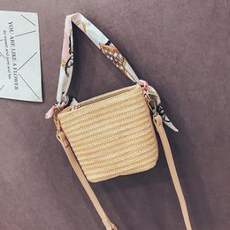 $enCountryForm.capitalKeyWord Australia - Belle2019 Article Plaited Straw Woman Summer Bag Small Fresh Silk Scarf On Vacation Tide Messenger Sandy Beach Package Book