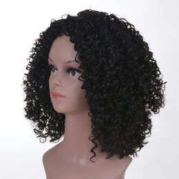 womens black wigs Australia - Cross-Border Special for Cool Black African Wig Fluffy Face Repair Womens Fake Headgear Chemical Fiber Qu Curly Hair Spot