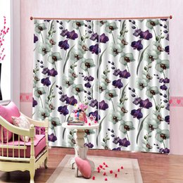 window double NZ - Luxury Custom Blackout Window Curtain For Living Room White purple flower Window Drapes Home Decor Set (lfet and right side)