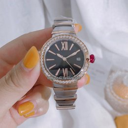 rose gold black womens watches Canada - New LVCEA Date Fashion 102192 LU33BSPGSPGD Black Dial Swiss Quartz Womens Watch Diamond Bezel Two Tone Rose Gold Case Sracelet Lady Watches