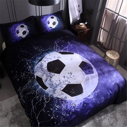Discount soccer beds - 2 3pcs 150*200cm Soccer Duvet Cover Set 3D Football Printed Bedding Set Single Double Full Queen King Home Textile + Pil