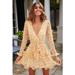 Wholesale New Women Dress Summer Boho Floral Ruffle Lacing Mini Dresses Lady Chic Sexy Wrapped Slim Party Dress Vestidos Robe Femme