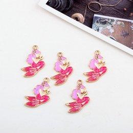 Kids Craft Making UK - 50pcs lot Small Pink Mermaid Pendants, Enamel Mermaid Charms, Kids Charms, 28*20mm Good For Craft Making