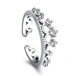 f4ea59cac505 925 Anillos de plata de la corona mujeres joyería de la boda anillo de dedo  ajustable para mujer niñas joyería de moda femenina accesorios al por mayor  ...