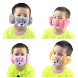 Опт Детские Симпатичные Ухо Защитная маска Рот Животные Медведь Дизайн 2 в 1 Маски для детей Зимние лица Дети Рот-муфельной Пыле 2 9jzj E19