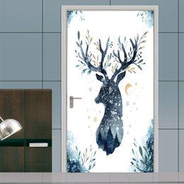 $enCountryForm.capitalKeyWord Australia - 2Pcs Set Creative Animal Deer Elk head Door Stickers Painting Wallpaper Poster Wall Sticker Bedroom Living Room Home Decoration