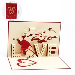 handmade cards for wedding day NZ - Romantic Valentine's Day 3D Greeting Cards for Couple Creative Love Blessing Card Fashion Handmade LOVE Tree Wedding Invitations