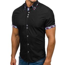 White Top Shirt Australia - Wholesale Men Shirt 2018 Brand Fashion Casual Slim Short Sleeve Dress Shirt Cotton Plus Size Solid Color Top Clothes White Black