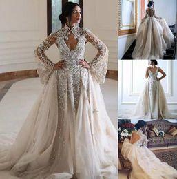 V Neck Collared Wedding Dresses Australia - 2019 New Luxury Crystal Wedding Dresses With Cape V Neck Lace Bridal Gowns Backless Boho Beach Plus Size See Through Wedding Dresses Bridal