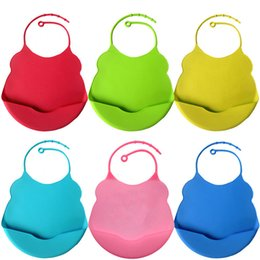 Food Grade Baby Bibs Burps Saliva Towel Pacifier Holder Solid Pink Blue  Waterproof Silicone Baby Bibs Factory Wholesale Baby Infant Burps f5c91b06d