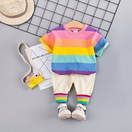4t rainbow tutu Australia - Summer Baby Girls Boys Clothing Sets Toddler Infant Clothes Suits Cotton Rainbow T Shirt Strap Shorts 2Pcs Kids Children Costume T200526