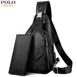 738ebac5d7 VICUNA POLO Double Pocket Feather Embossing USB Charging With Headphone  Outlet Leather Men Messenger Bag Shoulder Bag Chest Bag