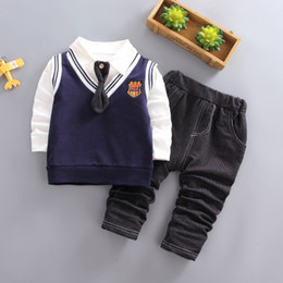 $enCountryForm.capitalKeyWord Canada - Kid cotton school uniform girls cloth causal todder boys clothes 2019 children clothing Korean kids long sleeve 3pcs bowtie shirt wholesale