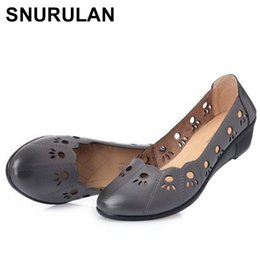 Comfortable Soft Women Shoes Australia - 2019 SNURULAN Summer Shoes Woman Genuine Leather Fashion Sandals Women's Causal Soft Comfortable Slip On Wedges Mother ShoesE613