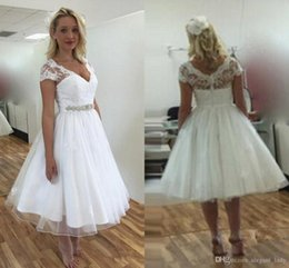 cowl neck tea length dresses Australia - Vintage Short Lace 50s Wedding Dresses 2018 Short Sleeve V Neck Beaded Belt A Line Tea Length country Bridal Gowns Custom Size