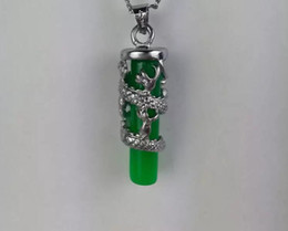 $enCountryForm.capitalKeyWord Australia - Free shipping green Jade pendant necklace Long Zhu pendant color retention plated silver jade dragon pillars wholesale
